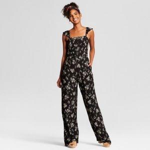 Xhiliration Floral Button Jumpsuit